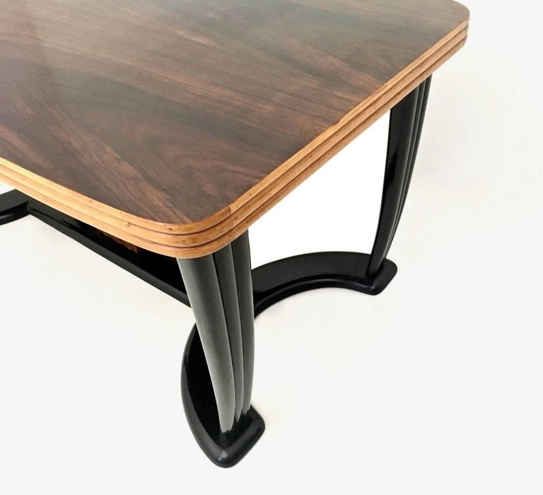 Mahogany Dining Table with Black Opaline Glass Top, Italy, 1940s For Sale 1