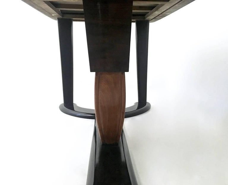 Mahogany Dining Table with Black Opaline Glass Top, Italy, 1940s For Sale 5