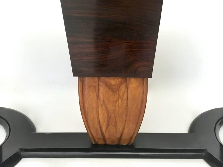 Mahogany Dining Table with Black Opaline Glass Top, Italy, 1940s For Sale 4