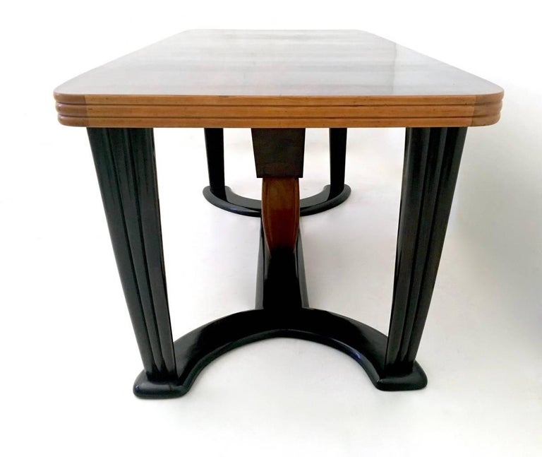 Italian Mahogany Dining Table with Black Opaline Glass Top, Italy, 1940s For Sale