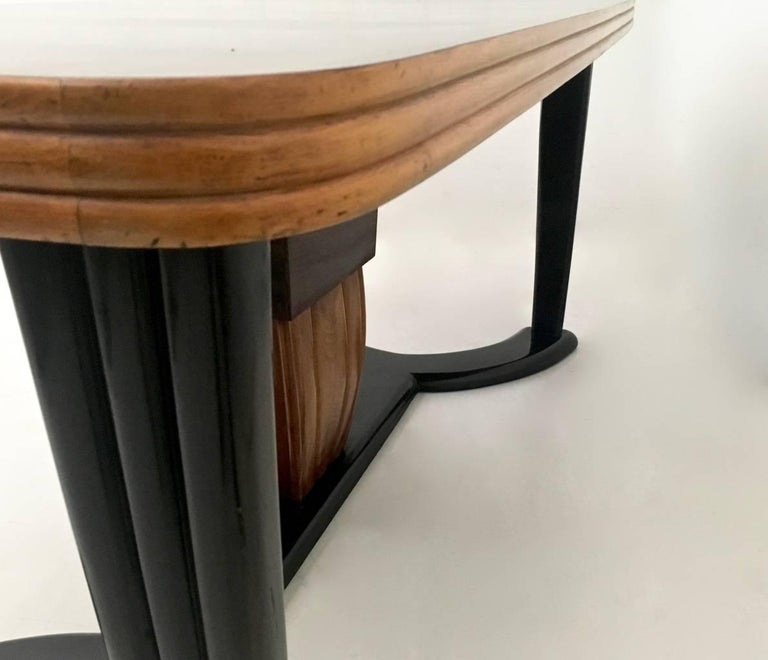 Mahogany Dining Table with Black Opaline Glass Top, Italy, 1940s For Sale 2