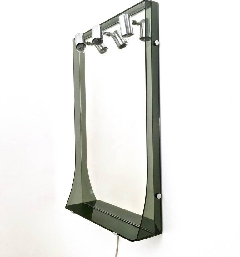 Italian Smoked Glass and Chrome-Plated Wall Mirror by Veca, Italy, 1970s For Sale