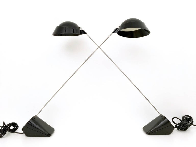"Pair of Desk Lamps ""Ipotenusa 630"" by Achille Castiglioni for Flos, Italy, 1970s 4"