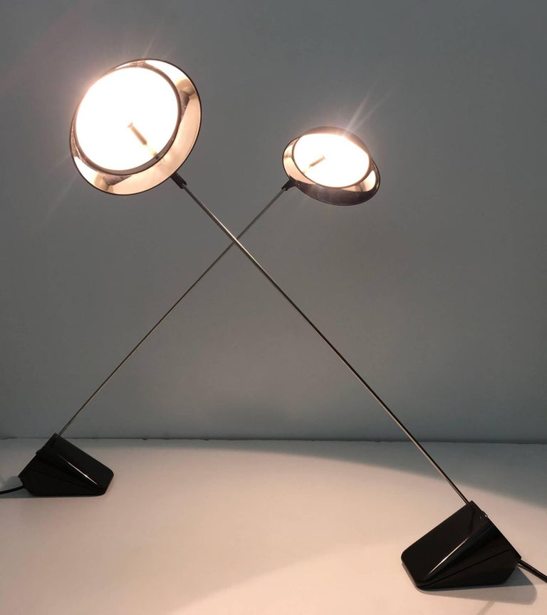 "Pair of Desk Lamps ""Ipotenusa 630"" by Achille Castiglioni for Flos, Italy, 1970s 5"