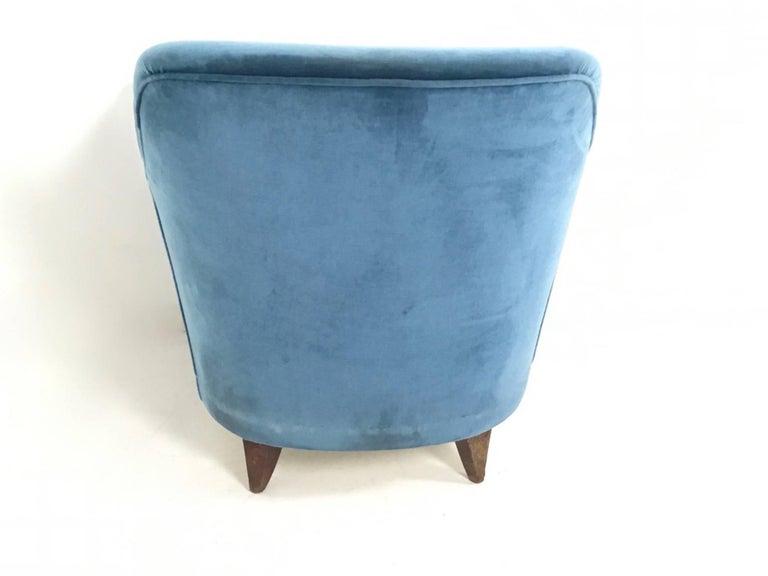 Mid Blue Velvet Living Room Set, Italy, 1950s For Sale 3
