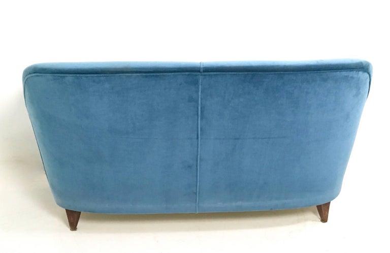Mid-20th Century Mid Blue Velvet Living Room Set, Italy, 1950s For Sale