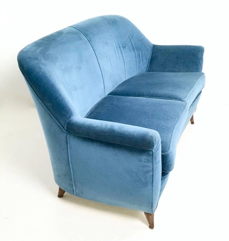 Italian Mid Blue Velvet Living Room Set, Italy, 1950s For Sale
