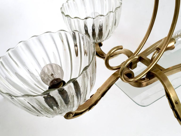 Large Blown Glass and Brass Chandelier by Ercole Barovier, Italy, 1940s For Sale 6