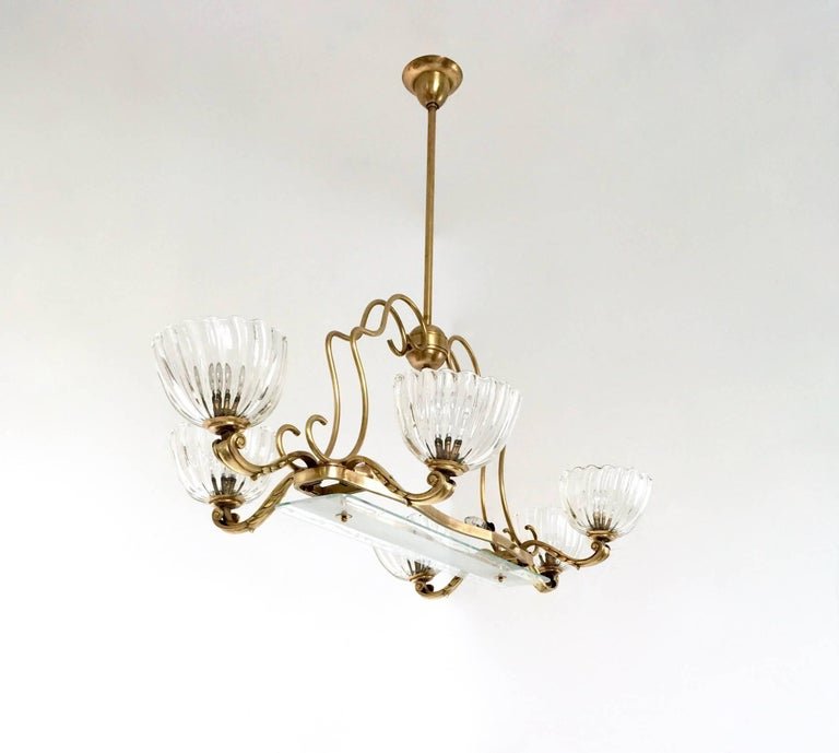 Italian Large Blown Glass and Brass Chandelier by Ercole Barovier, Italy, 1940s For Sale