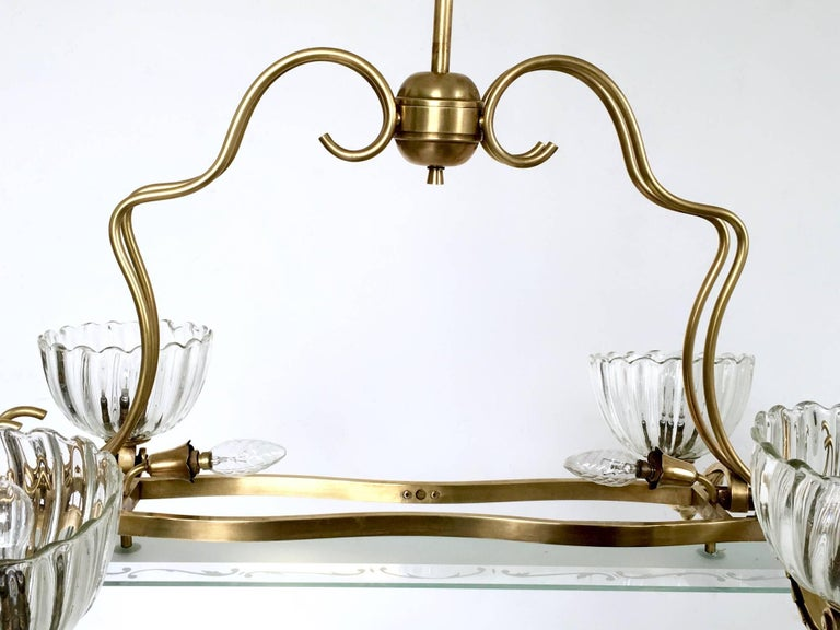 Large Blown Glass and Brass Chandelier by Ercole Barovier, Italy, 1940s For Sale 5