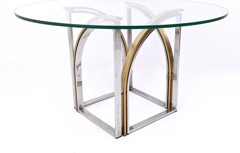 Round Brass and Steel Dining Table by Romeo Rega with Glass Top, Italy, 1970s In Excellent Condition For Sale In Bresso, Lombardy