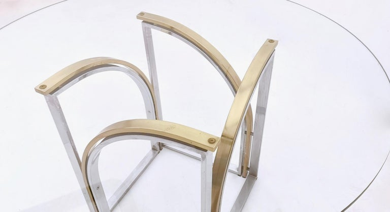 Round Brass and Steel Dining Table by Romeo Rega with Glass Top, Italy, 1970s For Sale 2
