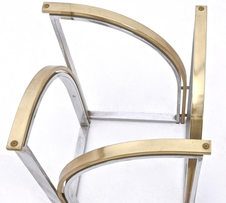 Round Brass and Steel Dining Table by Romeo Rega with Glass Top, Italy, 1970s For Sale 3