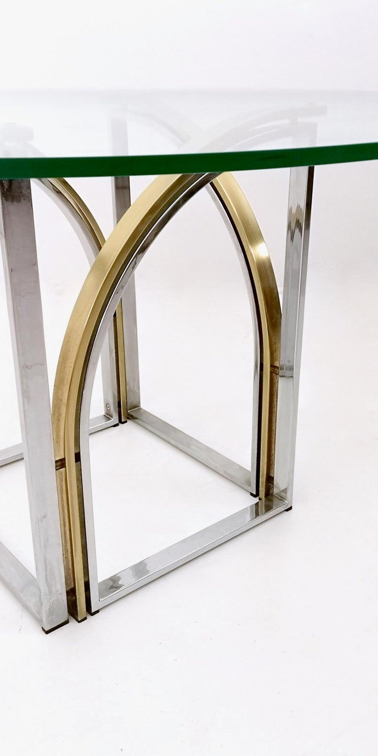 Round Brass and Steel Dining Table by Romeo Rega with Glass Top, Italy, 1970s For Sale 1