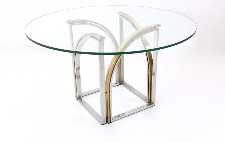 Italian Round Brass and Steel Dining Table by Romeo Rega with Glass Top, Italy, 1970s For Sale