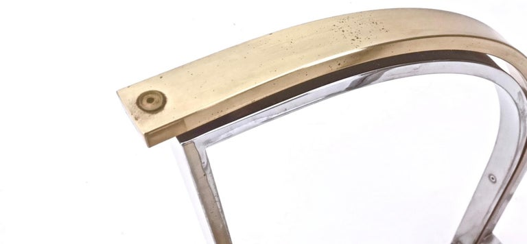 Round Brass and Steel Dining Table by Romeo Rega with Glass Top, Italy, 1970s For Sale 5