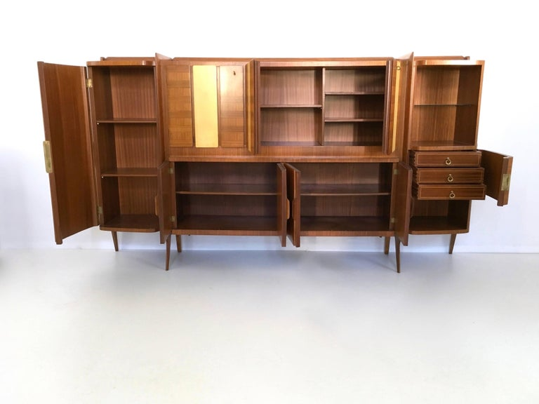 Italian Rare Monumental Cabinet by Ico Parisi with Parchment Panels, 1950s For Sale