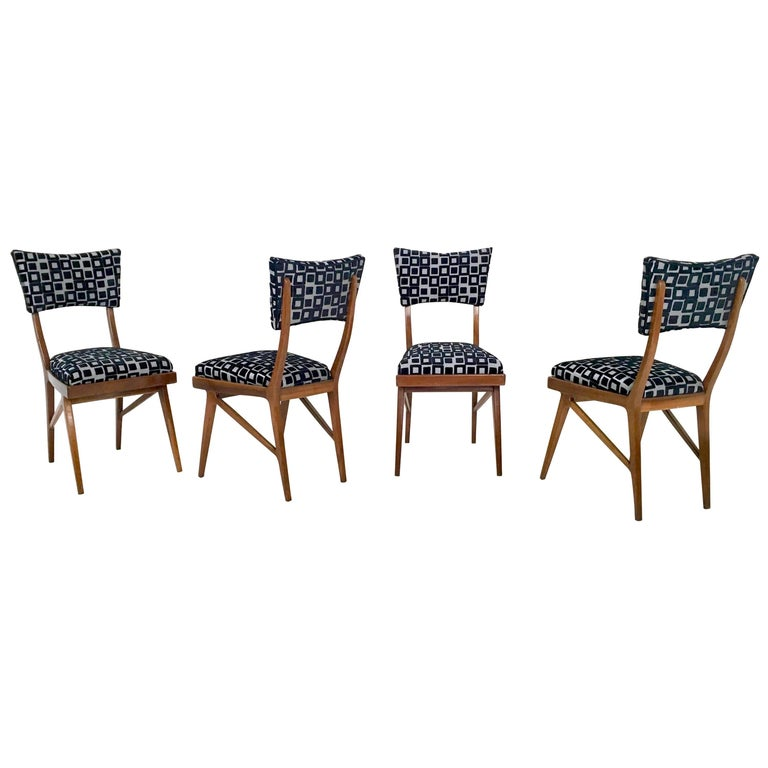 Set of Four Black and White Mahogany Chairs in the Style of Ico Parisi, 1950s For Sale