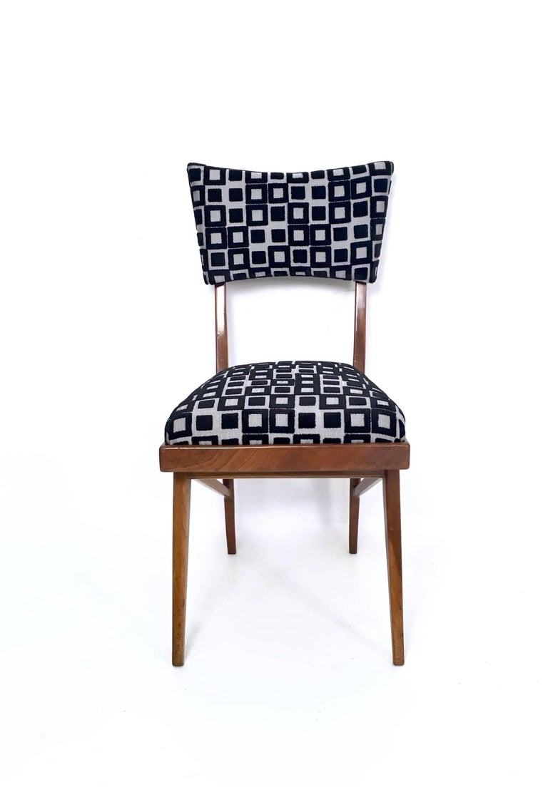 Fabric Set of Four Black and White Mahogany Chairs in the Style of Ico Parisi, 1950s For Sale