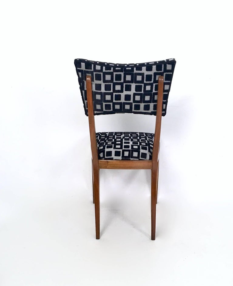 Set of Four Black and White Mahogany Chairs in the Style of Ico Parisi, 1950s For Sale 2