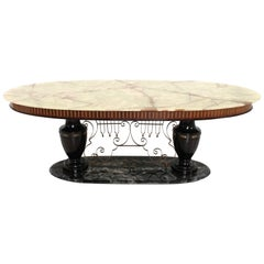 Midcentury Dining Table with Portoro Marble Base and Onyx Top, Italy, 1950s