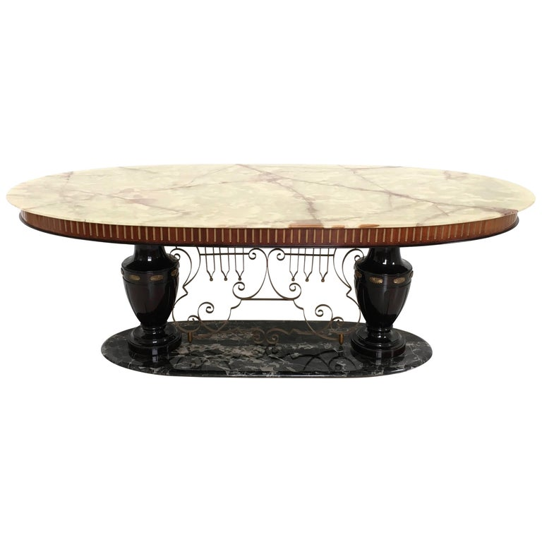 Midcentury Dining Table with Portoro Marble Base and Onyx Top, Italy, 1950s For Sale