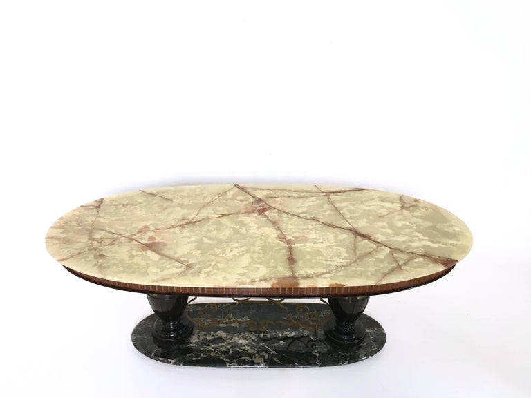 Lacquered Midcentury Dining Table with Portoro Marble Base and Onyx Top, Italy, 1950s For Sale