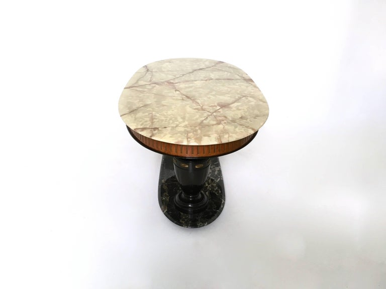 Midcentury Dining Table with Portoro Marble Base and Onyx Top, Italy, 1950s In Excellent Condition For Sale In Bresso, Lombardy