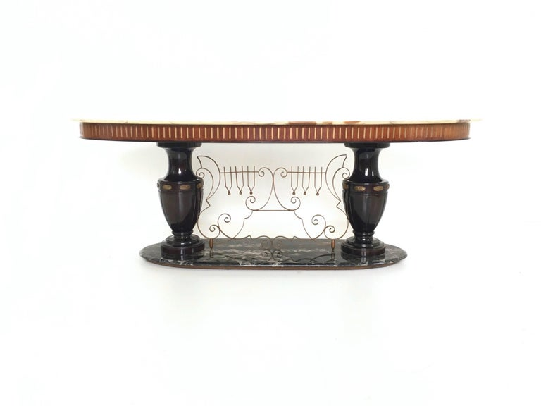 Metal Midcentury Dining Table with Portoro Marble Base and Onyx Top, Italy, 1950s For Sale