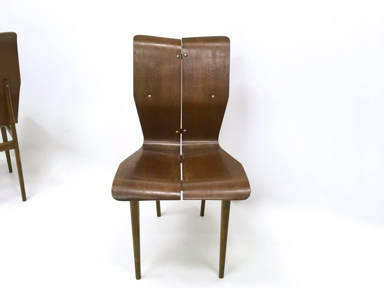 Italian Set of Six Curved Wood Dining Chairs in the style of Tapiovaara, 1950s For Sale