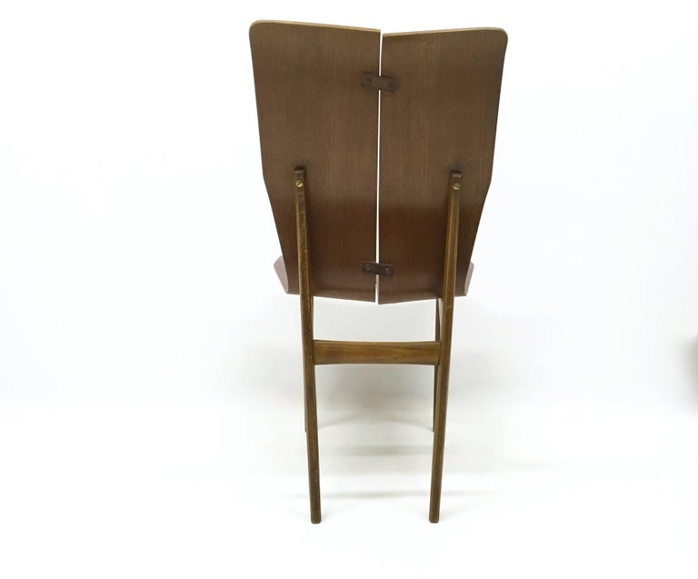 Set of Six Curved Wood Dining Chairs in the style of Tapiovaara, 1950s For Sale 1