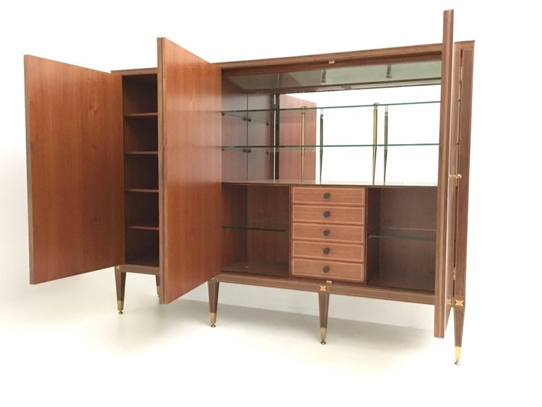 Veneer Cabinet Produced by Marelli & Colico Ascribable to Paolo Buffa, Italy, 1950s For Sale