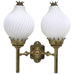 Large Opaline Glass and Brass Sconce by Arredoluce, Italy, 1950s