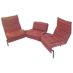 "Red Fabric Sofa Model ""Veranda"" by Vico Magistretti for Cassina, Italy, 1983"