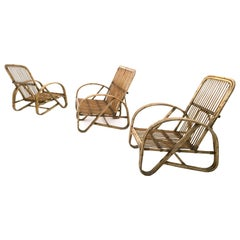 Midcentury Wicker Lounge Set with a Sofa and Two Armchairs, Italy, 1950s