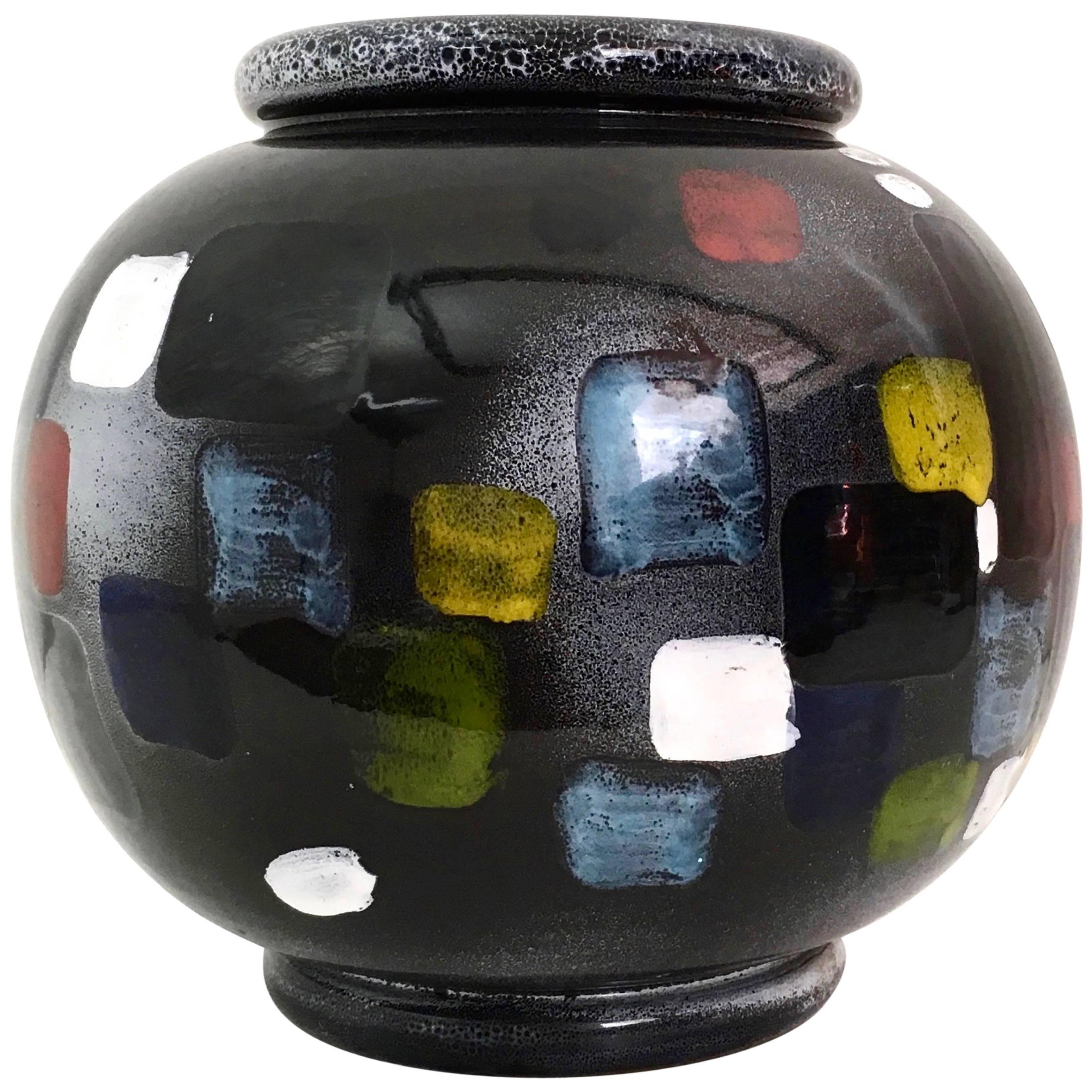 Vintage Black Deruta Ceramic Vase, Italy, 1960s-1970s