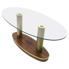 Midcentury Oval Wood and Glass Coffee Table by Cristal Art, Italy, 1950s