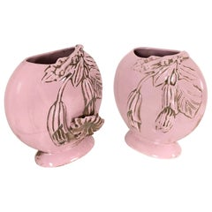 Pair of Light Pink Art Deco Polished Ceramic Flower Vases, Italy, 1940s