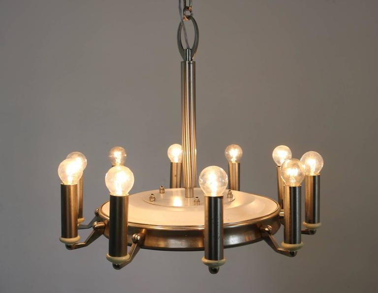 Round Nickel-Plated and Varnished Metal Chandelier, Italy, 1950s For Sale 2