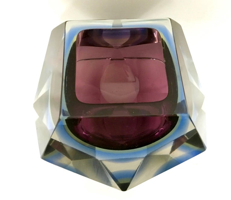Sommerso Glass Ashtray by Flavio Poli Seguso, Italy, 1960s In Excellent Condition For Sale In Bresso, Lombardy