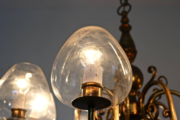 Eight-Arm Brass Chandelier with Blown Glass Lampshades, Italy, 1960s For Sale 1