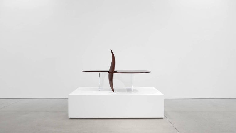"""Michael Coffey rare 'Encounter' coffee table, 1979. Sculpted Mozambique, thick plexiglass/Lucite base. Edition of 3.  Provenance:  Rare edition of 3, incised signature to underside """"M Coffey"""" Wright Design, 27 March 2014, Lot 272 Private"""