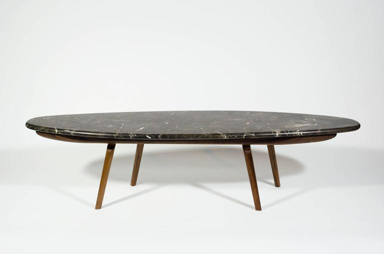 Organic Modern Contemporary Black Marble Stone and Walnut Wood Coffee Cocktail Table CBR Studio For Sale