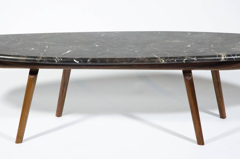 Hand-Crafted Contemporary Black Marble Stone and Walnut Wood Coffee Cocktail Table CBR Studio For Sale