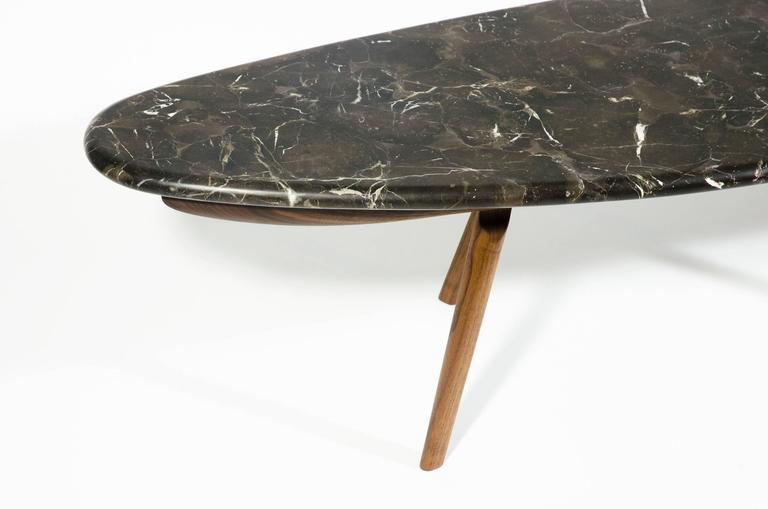 Contemporary Black Marble Stone and Walnut Wood Coffee Cocktail Table CBR Studio In New Condition For Sale In Brooklyn, NY