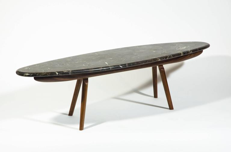 Contemporary Black Marble Stone and Walnut Wood Coffee Cocktail Table CBR Studio For Sale 1