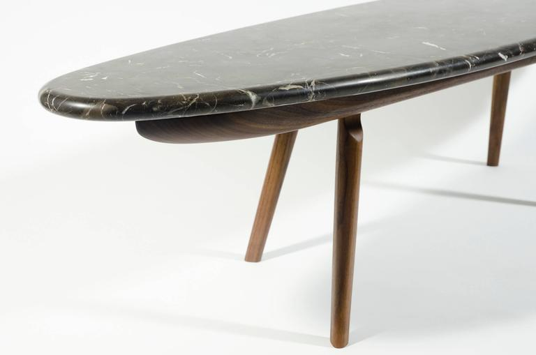 Contemporary Black Marble Stone and Walnut Wood Coffee Cocktail Table CBR Studio For Sale 2