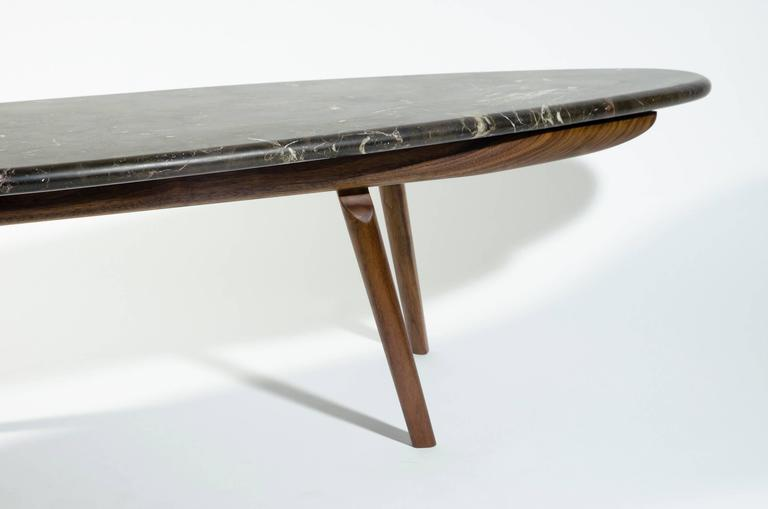 American Contemporary Black Marble Stone and Walnut Wood Coffee Cocktail Table CBR Studio For Sale
