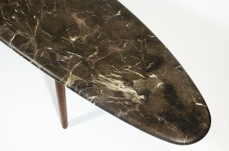 Contemporary Black Marble Stone and Walnut Wood Coffee Cocktail Table CBR Studio For Sale 3
