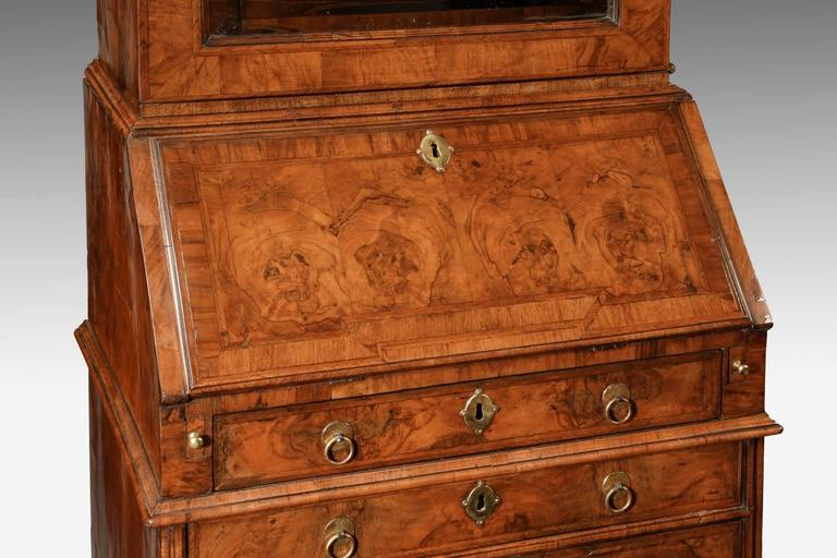 queen anne narrow walnut bureau bookcase for sale at 1stdibs. Black Bedroom Furniture Sets. Home Design Ideas